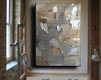 SALE Resin Glass Large Original Abstract Texture Modern Silver Pewter Copper Metal Leaf Sculpture Carved Impasto Knife Oil Painting by Je Hl