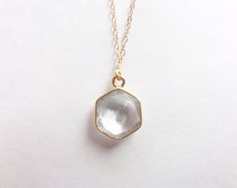 Faceted Rock Crystal Quartz Vermeil Bezel Hexagon Pendant on Gold Chain Necklace (N1819)