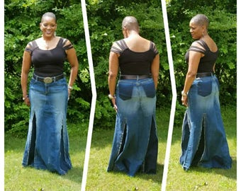 DELAROSA Rad Rhonda Jean Skirt Custom Your Size  choose your size and length size 0 1 2 4 6 8 10 12 14 16 18 20 22 24 26