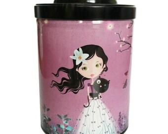 """Boite à thé ou café """"Fille au chat noir"""" rose, cadeau femme, rangement cuisine"""
