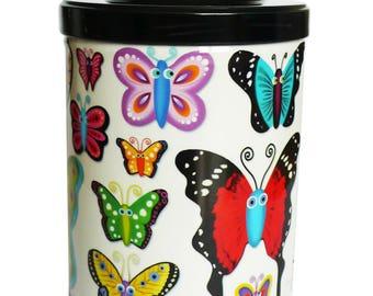 """Boite à thé ou café """"Papillons"""" fond blanc, cadeau amateurs de thé, rangement pour la cuisine,"""