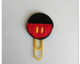 Planner clip, bookmark, planner feltie clip, felt bookmark, mouse belly feltie clip, black yellow red mouse, mickey inspired clip
