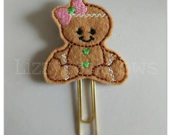 Planner clip, bookmark, planner feltie clip, felt bookmark, gingerbread feltie clip,  gingerbread girl clip, cookie girl, Christmas in July