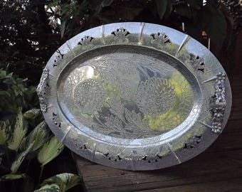 Big Silver Serving Tray, Large Flower Tray, Wedding Tray, Ornate Serving Tray, Oval Silver Tray, Big Floral Tray, Forman Decorative Tray