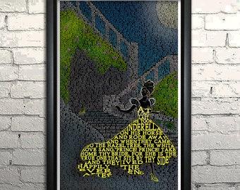 "Cinderella Grimm Fairy Tale word art print - 11x17"" Framed"
