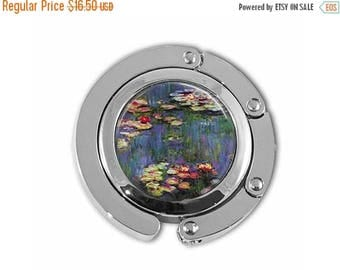 ON SALE Claude Monet Art Water Lilies Famous Paintings Purse Hook Purse Hanger Handbag Holder Umbrella Hook