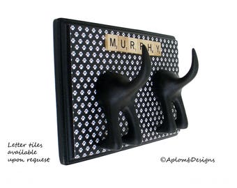 Dog Leash Holder  - Double Tail -  Black & White Paws - Personalize with optional letter tiles