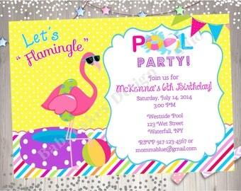 Flamingo Pool Party Invitation invite Flamingo Invitation Pink Flamingo Birthday Invitation Pool party invite - DIY Print Your Own