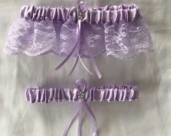 Lavender Satin / Lavender Lace - 2 Piece Wedding Garter Set - 1 To Keep / 1 To Throw