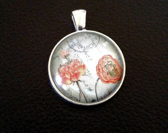Glass dome pendant etsy glass pendant frame vintage floral print glass dome pendant antiqued silver charm with bail framed pendant aloadofball Gallery