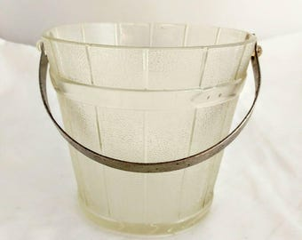 Vintage Pattern Glass Wooden Pail Hammered Handle Ice Bucket or Center Piece