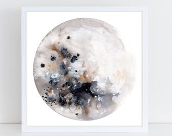 Full Moon Art Print. Silver Moon Watercolor. Boho Wall Art. Lunar Phases Art. Grey Moon. Space Artwork. Minimal Bedroom Decor. Space Theme.