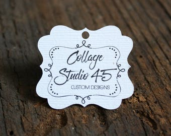 """50+ tags - 1.25""""x 1.5"""" - Fancy Cut  Customized Small Price Tags Jewelry Hang Tags Labels MT06"""