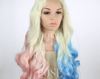 Harley Quinn Lace Front Wig / Suicide Squad Cosplay Long Curly Blonde Pastel Pink Blue Halloween Costume Joker Ombre / Princess Series