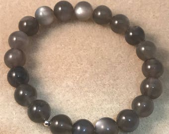 Black Moonstone Bracelet, 10mm Bead Stretch Bracelet With Sterling Silver Accent