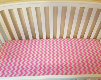 Neon pink and white chevron crib sheet, girl crib sheet made to order