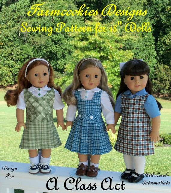 "New!!  18"" American Girl® Size PDF Sewing Pattern: A CLASS ACT /School Uniform Pattern for 18"" American Girl ® Dolls"