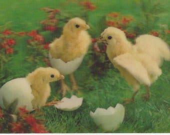 Vintage Toppan Wonder Co. Ltd. Lenticular (3D) Hatching Baby Chicks Postcard (used), 1970s