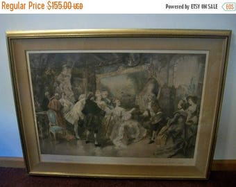 Summer Sale Gorgeous European V De Paredes Handcolored Engraved Print Antique Gold Frame by Mirad