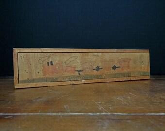 Vintage Austrian Wood Pencil Box and Vintage Pencils / Display Box / School Pencil Box / Antique Pencil Box