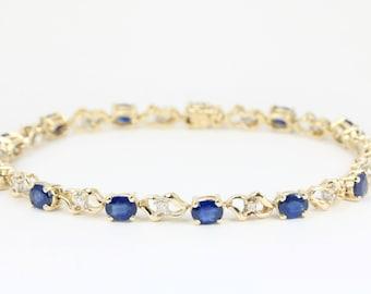 4.23tcw 14K Sapphire Bracelet, Gold Sapphire Bracelet, Sapphire Tennis Bracelet, Sapphire & Diamond Bracelet, September Anniversary Gift