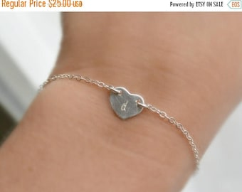 SALE - Personalized STERLING Silver Heart Bracelet, Initial Heart Charm Bracelet, Bridesmaid Initial Jewelry,  Mom Bracelet, Best Friend Gif