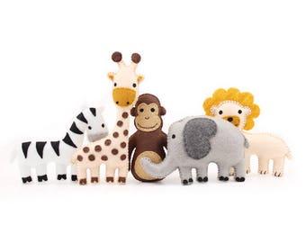 Mini Jungle Animal Sewing Patterns, Zoo Animal Sewing Patterns, Safari Animal Felt Patterns, Giraffe Elephant Monkey Zebra