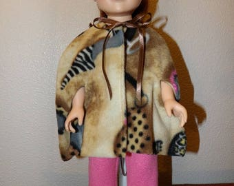 Fleece cape coat printed with shoes, purses & sunglasses for 18 inch dolls - ag324