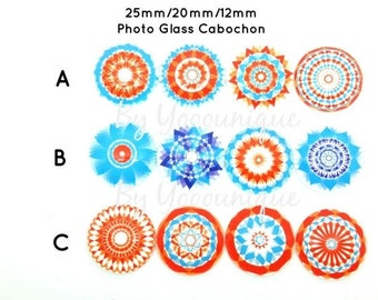30% Off - Excess Stock - NEW- Collection 12mm 20mm 25mm Kaleidoscope Handmade Photo Cabochon CPC880-M25/20/12[346]