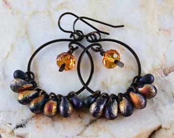 Hoop Earrings Tribal Yellow Swarovski Purple Brass Loops Earrings Rustic Earrings Bohemian Chic Jewelry