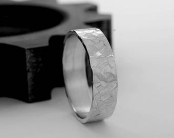 Hammered Sterling Silver Men's Wedding Band -  7mm Wedding Ring in Recycled Sterling Silver  - Rustic Wedding Rings for Men and Women