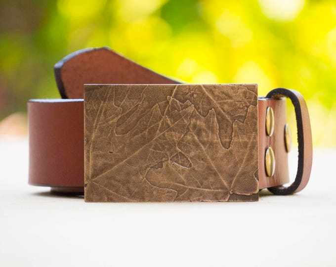 "Maple 2.0"" Bronze Belt Buckle and Top Grain Leather Strap"