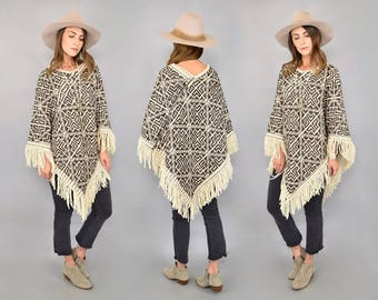 70's Bohemian Textured Poncho