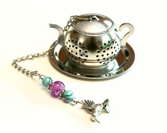 Tea Pot Tea Infuser with Hummingbird Charm- Purple & Turquoise Blue Beads, Beaded Mesh Tea Ball, Mad Hatter Tea Party,  High Tea, Tea Gift