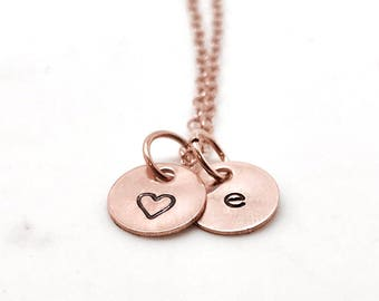 Rose Gold Initial Necklace with Heart Charm, Letter e Necklace, All Letters Available, Hand Stamped Jewelry, Rose Gold Heart Necklace