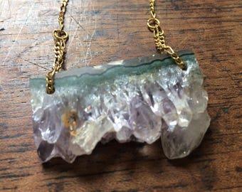 Raw Amethyst Slice Necklace