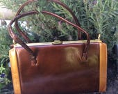 Vintage Kelly Bag  Patent Brown Bag  Vintage Brown Bag  70s Handbag  Interwainer Handbag  Frame Handbag