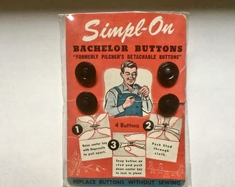 Vintage Bachelor No Sew Buttons in Original Packaging for Crafts