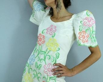 MEMORIAL SALE Vintage 70s Embroidered FLower Maxi Dress Pleated POOFY Sleeves // Vintage Clothing by TatiTatiVintage on Etsy