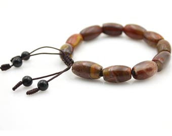 Zhanguo Red Agate Gem Tibet Buddhist Prayer Beads Mala Bracelet Obsidian  S021