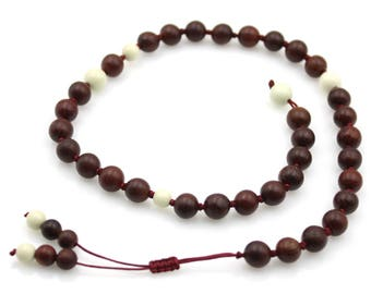 Pterocarpus Santalinu Wood Tibet Buddhist Prayer Beads Mala Bracelet Natural Gem S035