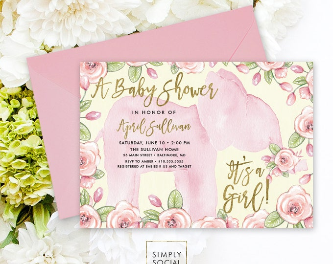 Elephant Baby Shower Invitation - Boho Pink and Green Elephant It's A Girl Floral Baby Shower Invitation Watercolor Faux Gold Foil
