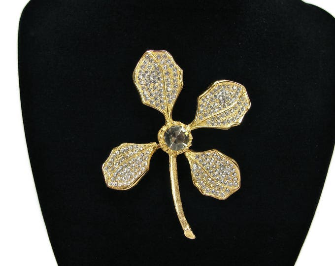 MMA Crystal Flower Trember Brooch, Metropolitan Museum NY,  Rhinestone Brooch, Flower Pin, Vintage Jewelry, Gold Tone