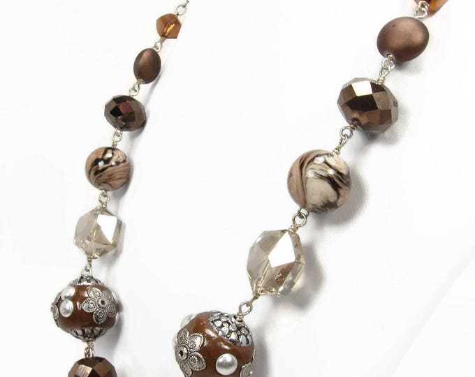 Sterling Silver Brown Bead Crystal Necklace 21 Inch Adjustable