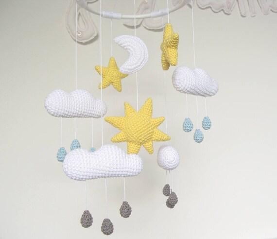 Crochet Nuage Mobile Mobile Bébé Avec Des Gouttes De Pluie