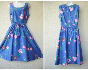 1950s Hawaiian Dress. Garden Party DRESS. Full Skirt. Floral Dress. Malia of Hawaii Dress. Hawaiian Sundress. 1960s Hawaiian Dress. M to L