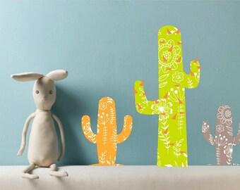 Cactus Wall Decals, Cactus decor, Nursery Decor, Kids Wall Decals, Girls Room Decor, Playroom stickers, Cactus Wall Art, Floral Cactus decor