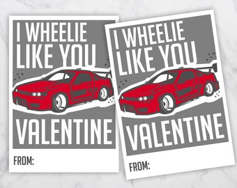 I Wheelie Like You Valentine, Race Car Valentine, Childrenu0027s Valentines,  Classroom Valentines,
