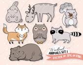 Woodland Animals Clipart Set, Vector Clip Art, DIY Planner Stickers, Cute Bear, Fox, Owl, Commercial Use Graphics, Kawaii, Raccoon, Squirrel