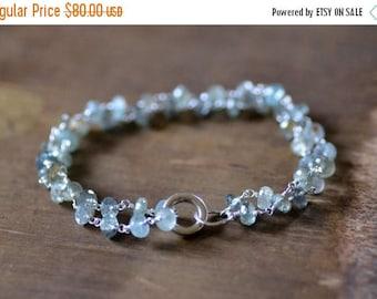 ON SALE moss aquamarine chain bracelet